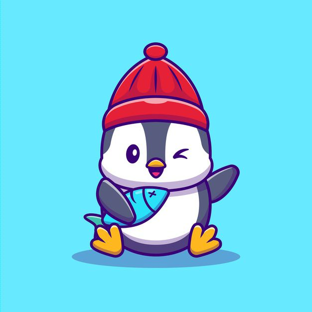 cute-penguin-with-fish-cartoon-vector-illustration-animal-wildlife-concept-isolated-vector-flat-cartoon-style_138676-1932
